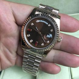Wholesale Rose Gold Men Watch - New Luxury Brand President 36mm Medium Size Men Women Watch Rose Gold Stainless Steel Sapphire Glassp Men Watches Wristwatches AAA Quality