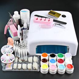Wholesale Gel Lamp Kit - Wholesale- Professional Full Set 12 color UV Gel Kit Brush Nail Art Set + 36W Curing UV Lamp kit Dryer Curining Tools