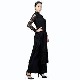 Wholesale Black Cheongsam Evening Dress - Vintage Elegant New Lace Cheongsam Chinese Women's Dress Print Split Tow-piece Grace Long Evening Dress black