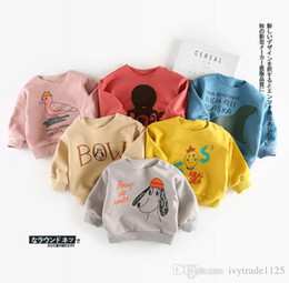 Wholesale Dog Outwear - INS NEW ARRIVAL boys girl 100% cotton t shirt long Sleeve o-neck dog bird animals print outwear T shirts baby kids fall hoodiescoat 5 colors