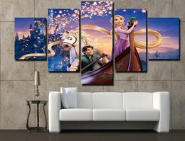 Wholesale Paintings Numbers Free Shipping - 2016 Hot 5 Pieces Framed Printed Decoration Tangled Rapunzel Flynn Poster Paint Canvas Free Shipping Painting By Numbers