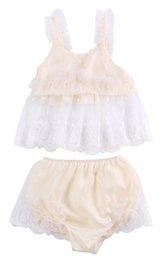 Wholesale Infant Lace Tops - Baby Clothing Set 2pcs Toddler Infant Baby Girl Clothes Lace Floral Tops+Bottoms Briefs Outfit Set