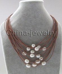 """Wholesale 13mm Pearl Necklace - P7379-17"""" 15rows 11-13mm natural white baroque freshwater pearl leather necklace"""