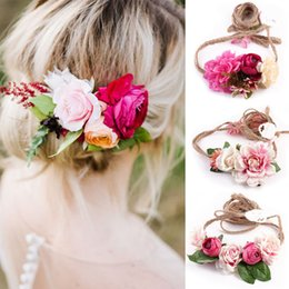 Wholesale Ladies Hair Ribbons - Summer Fashion Women Ladies Flowers Headband Wedding Bride Girls Headwear Floral Hairband Belt Accessories 6style choose free ship