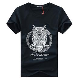 Wholesale Owl Top Men - Men's T-shirt Summer New Cotton O Neck Short Sleeve Owl Men Tops Casual Fashion Comfortable Male T shirts