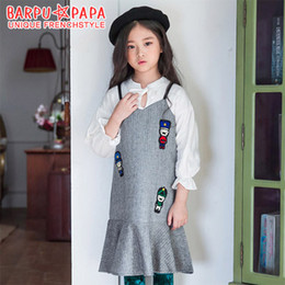 Wholesale Korean Fashion Wholesale Formal - New Big Girls Dress Children Fashion Susender Dresses Gallus Princess Clothing Sleeveless Vest Dress Girl's Korean Dresses Grey A7570