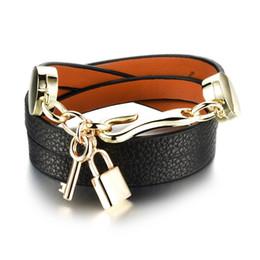 Wholesale Titanium Charm Key - hot sale jewelry fashion Europe exaggerated ladies woman bracelet key pendant multi layer adjustable leather charm bracelet