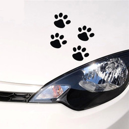 Wholesale Print Vinyl Stickers - 4pcs lot Personality Funny stickers 6cm*4 Cat Paw Print Dog Paw Print Bear Paw Print Creative Footprints Car Stickers Car Decals Pa