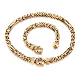 Wholesale Figaro Chain 8mm - 2017 New Design Charming Women's Gift Gold Stainless Steel 8mm Biker figaro Chain Necklace & Bracelet Jewelry Set Cool