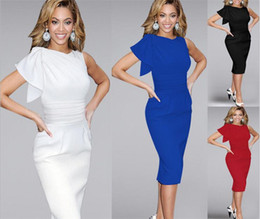 Wholesale Wholesales Dresses Prom Night - 5pcs Sexy Casual Women Dresses Elegant Ruffle Sleeve Ruched Party Evening Prom Fitted Stretch Wiggle Pencil Sheath Dresses M076