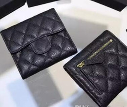 Wholesale Easter Fabric Panels - 82288 Black Lambskin Caviar Leather Card ID Holder women wallet genuine leather famous brand caviar lambskin short wallets