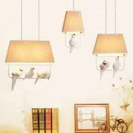 Wholesale vintage bird lamp - Birds pendant lights vintage lamp resin bird fabric lampshade for kitchen lighting dining room retro loft pendant lamp