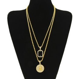 Wholesale High Quality Gold Filled Jewelry - New Arrival Micro Ruby Black & Jesus Face Pendant Chain Necklace Set for Men High Quality Zinc Alloy Iced Out Hip Hop Jewelry