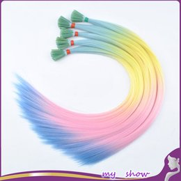 "Wholesale Hair Extension Beads Synthetic - Wholesale- 100pcs lot 20"" heat resistance synthetic fiber I-tip hair extension rainbow multi-color long straight silky loop hairpiece+beads"
