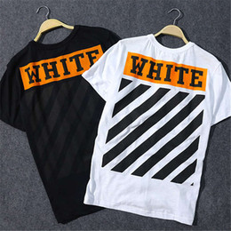 Wholesale Basic White Tee - The Original Off White Stripes T-shirt Men Hip Hop Skateboard Short Sleeve Mens And Women Streets Basic T Shirt Tees Free Shipping