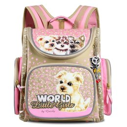 Wholesale Fashion Russian Style - Russian 2017 NEW Fashion Children School Bags Pink Flower Printed Waterproof Orthopedic Nylon Kids Girls Backpack 3D Schoolbag Mochila