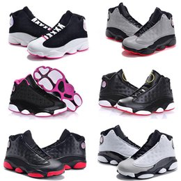 Wholesale Boy Shoes Size 13 - Online Sale 2017 Cheap New Air Retro 13 Kids basketball shoes for Boys Girls sneakers Children Babys 13s running shoe Size 11C-3Y