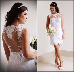 Wholesale Mini Sexy Summer Robes - 2017 Hot Sexy A-Line Short Wedding Dress Bridal Dress Lace Robe De Marrige See Through Back Wedding Dresses Gown