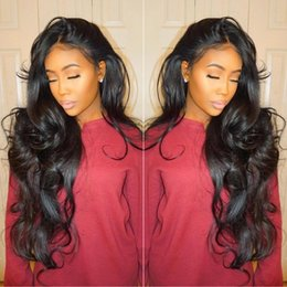 Wholesale Natural Wavy Black Hair - Top Quality Brazilian Wet and Wavy Human Hair Wigs Brazilian Body Wave Lace Front Wigs Glueless Full Lace Wigs Bleached Knots