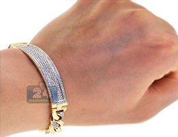 Wholesale Mens Solid 14k Bracelets - Solid 14K Yellow Gold 4.21 ct Diamond Cuban Link Mens ID Bracelet 9.25 inches