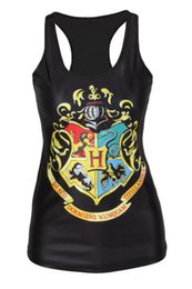 Wholesale Harry Potter Sexy - 2017 New Arrival Soft Harry Potter Printing Black Women's Camisole Sexy Fashion Punk Style T-shirt Tank Tops
