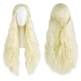 Wholesale Dragon Wig - Daenerys Targaryen Wig Dragon Princess Game Of Thrones Braiding Long Curly Synthetic Hair High Temperature Fiber Wig