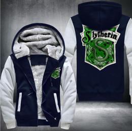 Wholesale Usa Costumes - 2017 selling High Quality Keep warm Sweatshirts anime slytherin snakeThicken Hoodie Zipper Coat Jacket winter Sweatshirt Costume,USA SIZE
