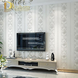 Wholesale Modern Damask Wallpaper - Wholesale-Modern Luxury Homes Decor European Striped Damask Wallpaper For Walls Bedroom Living room Embossed Grey Beige Wall paper Rolls