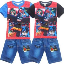 Wholesale Superman Batman T Shirt - 2017 Summer Children Set Superman batman spideman suit boys jeans sets for boys and girls t-shirt+pant 2pcs Kids Clothes