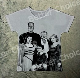 Wholesale Vampire Tees - Track Ship+New Hot Fresh Vintage Retro T-shirt Top Tee Frankenstein Werewolf Vampire Bat Strange Family 1392
