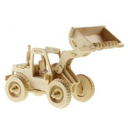 Wholesale Toy Bulldozers - MICHLEY 1pc 3D Wooden Construction Jigsw Puzzle Kid Educational Woodcraft DIY Kit Toy Simulation Models Bulldozer 1T0047-tuituji