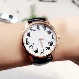 Wholesale Cartoon Watches For Women - Brand new Fashion Watches Women Casual Cat Pattern wristwatch for Girl Quartz cartoon watch Saat hours relojes gift Ladies Watch