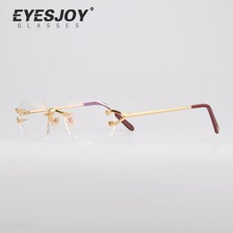 Wholesale Optical Lens - Hot CT Brand Luxury Optical frames Rimless Glasses Frames Real Gold Plated Metal Optical Eyeglasses CT2804390
