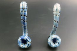 Wholesale Extension Oil - Bubbler Smoking Pipes glass oil burner 13cm pipes Mixed Color Mini Pipes Extension Bongs Striped Skeletal Pipe Best Quality Bongs