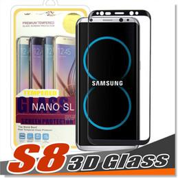 Rasguño de pantalla galaxy nota online-Para Samsung Galaxy S8 Plus Note 8 Protector de pantalla de vidrio templado Diseño exacto Cobertura de pantalla completa Borde curvo 3D Antiarrugas, sin burbujas