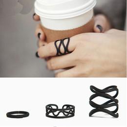 Wholesale Simple Cross Rings - 3pcs Set Black Geometric Rings Set Trendy Simple Cross Knuckle Rings Set Midi Ring For Women Party Jewelry