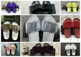 Wholesale Slippers Cheap Flat - 2017 Cheap RIHANNA LEADCAT FENTY Slipper Faux Fur Slide Sandal Fashions Women Fenty Slippers Black Slide Sandals Fenty Slides Free shipping