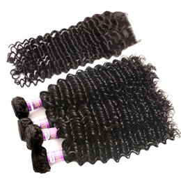 Wholesale Malaysian Deep Curly Closure - Badshop 8A Peruvian Curly Wavy with Closure Peruvian Deep Curl Virgin Hair with Closure Peruvian Deep Wave with Closure 4 Bundles