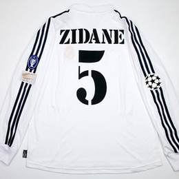 Wholesale Vintage Patches - RUGBY Vintage UCL 01 02 Centenary Home Shirt Jersey Long sleeves ZIDANE Rugby Football Custom Name Number Patches Sponsor