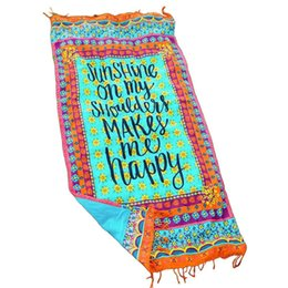 Wholesale Wholesale Beach Cover Up Wrap - Beach Towel Sunshine Happy Round Tassel Fringing Beach Wrap Shawl Cover Up Blanket