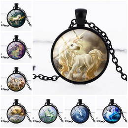 Wholesale Best Planting - Best gift Jewelry unicorn gem pendant necklace sweater chain accessories WFN337 (with chain) mix order 20 pieces a lot