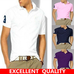 Wholesale Men S Big Collar Shirts - 2017 Men Brands Polo Shirt Men's Top Big Horse Embroidery Short Sleeves Collar Solid Cotton Camisa Polos Homme Clothing Chemmise Famous Homb