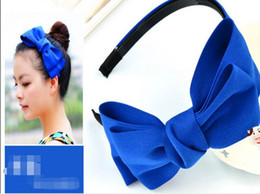 Wholesale Navy Women Hair - 10pcs lot Hot sale mix women female green blue navy blue Large bowknot with tooth cloth press the wide edge hairbands hair jewelry Headbands