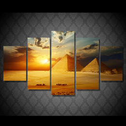 Wholesale Egyptian Sheet - 5 Pcs Set Framed HD Printed Sunset Egyptian Pyramids Picture Wall Art Canvas Print Decor Poster Canvas Oil Painting