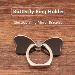Wholesale Electroplated Rings - Customized LOGO phone ring holder for iphone Repositional Phone Holder 360 degree rotation Electroplating Mirror Bracelet