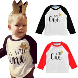 Wholesale kids raglan wholesale - Birthday Boy T-shirt Gold Crown Letter Printed Kids Boy Tees Long Sleeve Raglan Autumn Kids Clothes Cotton Children Outfit