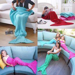 Wholesale Xmas Bedding - Mermaid Blanket Yarn Knitted Handmade Crochet Family Pajama Xmas Kids Adult Baby Throw Bed Wrap Super Soft Sleeping Sofa Bed 6 Colors CK1079