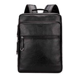 Wholesale Cool Laptops - Large Capacity Cool Black Leather Men Backpack Promotion Solid Black Mens Laptop Backpack Leather Backpack mochila