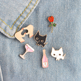 Wholesale Women Wedding Clothing - Lapel Pin Brooches Badge Champagne Coupe Saucer Rose Flower Love Heart White Black Cat Shaped Women Jewelry Clothing Accessories