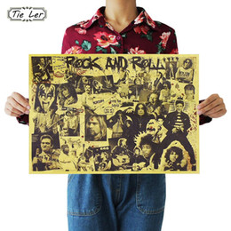 Wholesale Rock Roll Decorations - TIE LER Rock and Roll Music Posters Famous Rock Singer Personalised Room Decoration Kraft Paper Wall Sticker